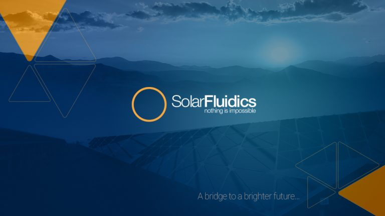 blue banner image solar fluidics - presentation design page